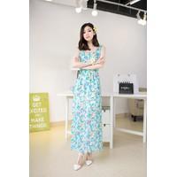 Đầm maxi hoa xanh 12117