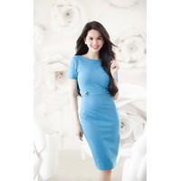 Đầm công sở màu xanh Ngọc Trinh