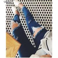 Quần jeans nữ rách ống côn Mã: QD433