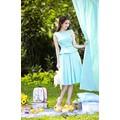 Đầm xanh xếp ly Ngọc Trinh