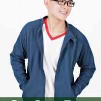 Áo khoác thun nam giả jeans xanh nhạt M01