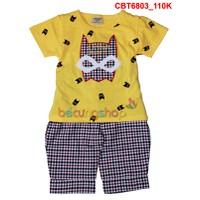 Bộ áo hình batman phối quần sọc caro cho bé trai