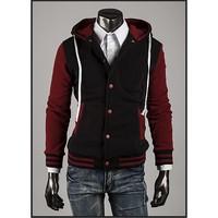 Áo Khoác nam cài nút phối màu - KB015 đỏ