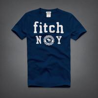 Áo thun nam họa tiết in Fitch NY xanh cổ vịt