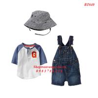 BT640 - Bộ Polo gồm yếm jean, áo thun và nón