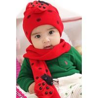 Bộ nón len và khăn quàng cổ chú bọ cho bé