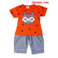 Bộ áo hình batman phối quần sọc caro cho bé trai - đỏ cam