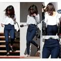 Quần jeans dài 1 nút xanh dương kiểu dáng cách điệu mới lạ QD57