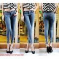 Quần jeans dài 1 xé rách cách điệu cá tính QD61