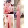 Đầm dạ hội màu hồng hở lưng V váy xẻ quyến rũ DM70