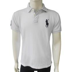 Áo thun nam xuất khẩu Polo cotton 4 chiều màu trắng