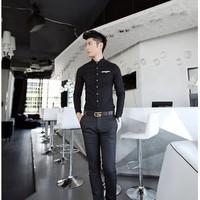 Aó sơ mi nam Hàn Quốc màu đen phối viền túi trắng PA422