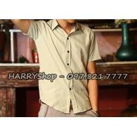 áo sơ mi nam tay ngắn màu xanh nhạt với điểm nhấn viền caro SV719
