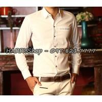 áo sơ mi nam trắng tin với điểm nhấn giả túi viền caro SV717