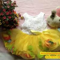 Đầm xòe hoa rơi-QG083