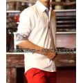 áo sơ mi nam trắng vởi điểm nhấn caro nơi chân cổ áo và tay áo SV721