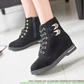 Giày boot da thu đông cổ cao 2 khóa gài sành điệu GUBB55