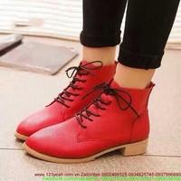 Giày da nữ thu đông cổ cao thắt dây sành điệu GUBB59