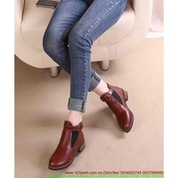 Giày da nữ thu đông khóa gài cổ chân sành điệu GUBB53