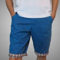 Quần kaki nam lửng màu xanh da trời bẻ lai sọc caro cực đẹp QLKK64