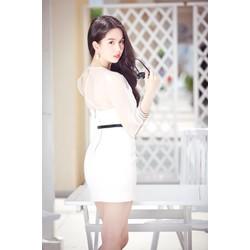Đầm trắng Ngọc Trinh phối vai và tay lưới trắng đáng yêu D007