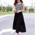 Đầm Maxi phối trắng đen