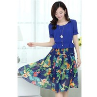 Đầm maxi tay ngắn váy hoa voan xòe cao cấp kiểu Hàn Quốc-D1752