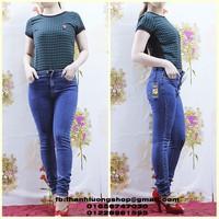 JD016 quần jean lưng cao túi đính logo thỏ