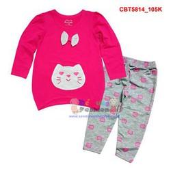 Bộ tay dài áo bầu hình mèo thắt nơ phối quần họa tiết cho bé gái
