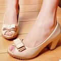Giày búp bê 7 phân hở mũi nơ đôi