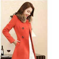 Áo khoác dạ kèm cổ lót lông K4 - hàng nhập loại 1