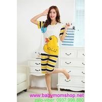Đồ mặc nhà quần lửng sọc họa tiết chú vịt vàng cực cute NN343