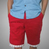 Quần kaki nam lửng màu đỏ tươi bẻ lai sọc caro QKL63