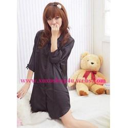 Đầm ngủ dạng áo sơ mi vải phi đen L014