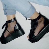 Giày bata bánh mì phối lưới hở mũi