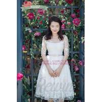 Đầm tùng ren hoa tay lửng thắt nơ eo mặc đi cưới cực xinh DA312