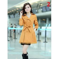 Áo khoác kaki nữ cao cấp viền ren - thời trang cho mùa thu đông
