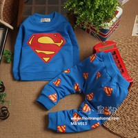 Bộ quần áo dài tay xuân thu hình siêu nhân cao cấp bé trai V013