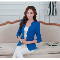 Áo vest nữ cổ cách điệu lượn sóng xanh dương TV27