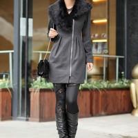 Áo khoác dạ lông thỏ cao cấp H015