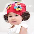 Mũ trùm đầu bé gái đính bông hoa dễ thương, phối tóc giả thời trang