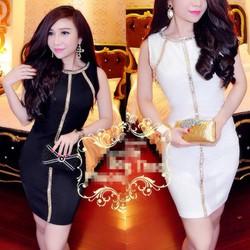 Đầm body đinh kim sa màu giống bella  D522