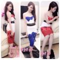 Set áo croptop cúp ngực  chân váy body Hoa Hồng