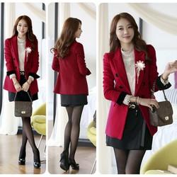 Áo khoác vest form dài tay phối đen