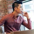 Aó sơ mi nam sọc caro đỏ phong cách Hàn Quốc trẻ trung , cá tính