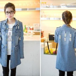 Áo khoác jean fom dài kèm túi phong cách