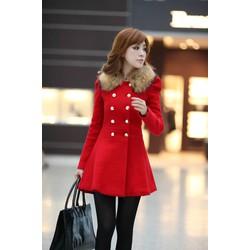 Áo khoác dạ Hàn Quốc cổ lông tháo dời loại 1 y hình MD002