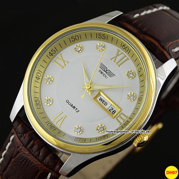 Đồng hồ nam day da cao cấp Swidu -Swi chống thấm chống xước 2