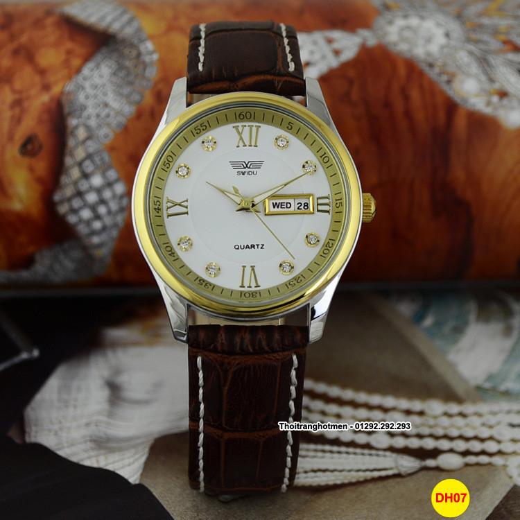 Đồng hồ nam day da cao cấp Swidu -Swi chống thấm chống xước 3