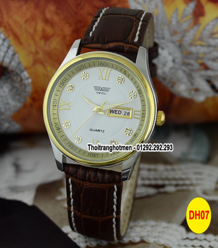 Đồng hồ nam day da cao cấp Swidu -Swi chống thấm chống xước 5